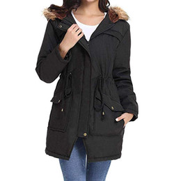 Wholesale winter clothes for plus size ladies for sale - Group buy Womens Outdoor Winter Warm Thick Hooded Coat Plus Size Long Jackets With Pocket Ladies Fur Lining Overcoat For Clothing