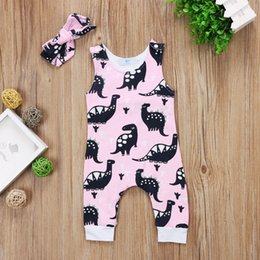 infant girl romper pattern Canada - Cute Newborn Infant Toddler Baby Girl Dinosaur Pattern Sleeveless Romper Jumpsuit Outfit Clothes Pink 0-18M