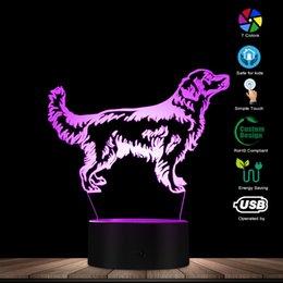 3D Золотистый Ретривер Собака LED Night Light Customiz Имя Pet Визуальная Лампа Декоративное Освещение Щенок Сонный Свет Собака Любитель Подарок