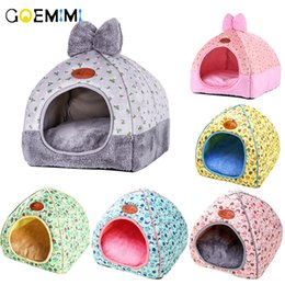 Designs For Beds NZ - Brand New Cat Warm Cave Lovely Bow Design Puppy Winter Bed House Kennel Fleece Soft Nest For Small Medium Dog House for cat