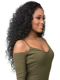 Deep Curly Indian Lace Wig Australia - Brazilian deep wave curly 360 lace frontal wig for black women pre plucked 360 lace wig 250% density Full ends Free ship