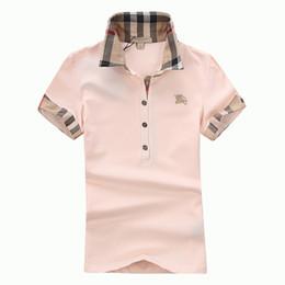 72855d550e1b1 Женская футболка классическая с коротким рукавом летняя футболка модный  бренд рубашки поло для женщин высокого качества 5 цвет S-XXL
