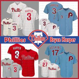 f55616b9c2131c Phillies Jersey 3 Bryce Harper Filadelfia 17 Rhys Hoskins 27 Aaron Nola  Camisetas de béisbol Flex Flex Base Retro para hombre Tamaño m-xxxl