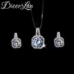 Jewelry Sets Rhinestone 925 Australia - DIEERLAN Rhinestone Jewelry Sets 925 Sterling Silver Cubic Zirconia Geometric Choker Necklaces for Women Wedding Bridal Gifts