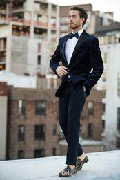 $enCountryForm.capitalKeyWord Australia - High Quality Dark Navy Wedding Tuxedos 2018 Cheap Slim Fit Peaked Lapel Men Prom Suit One Button Groomsmen Suits(Jacket+Pants+Tie)