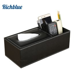 $enCountryForm.capitalKeyWord Australia - PU Leather Rectangle Square Shorter Tissue Box Pen Remote Storage Desk Organizer Paper Napkin Towel Holder Dispenser Cover Cases
