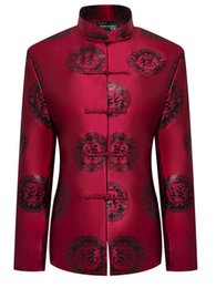 $enCountryForm.capitalKeyWord Australia - Women Vintage Tangzhuang Suits Jackets Female Mandarin Collar Tunic Blazers Red Chinese Character Pattern Jacquard Weave Blazer