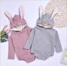 three dimensional clothes Canada - New best-selling autumn boys and girls three-dimensional baby rabbit hatchwear children's one-piece baby clothing factory direct sales