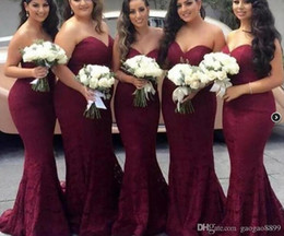 wine bridesmaid dresses long Australia - real picture 50% off Elegant Burgundy Sweetheart Lace Mermaid Cheap Long Bridesmaid Dresses 2019 Wine Maid of Honor Wedding Guest Dress