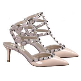 $enCountryForm.capitalKeyWord Australia - 2019V home rivet high heel with pointed toe; willow clove leather thin heel; medium heel; strappy sandals; women's summer wedding shoes