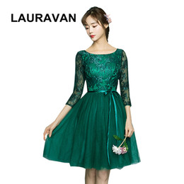 fitted chiffon bridesmaid dresses UK - special occasion green brief sleeved dress formal fitted short modest bridesmaid dresses ball gown new fashion 2019 under