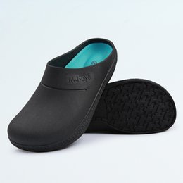 a4ec3ee2351709 2019 Men s Chef Kitchen Working Slippers Garden Shoes Summer Male Mules  Clogs Anti Slip Surgical Hospital Antibacterial Shoes