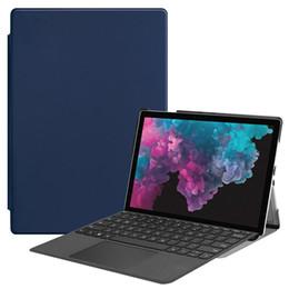 Folding Pens Australia - Tri-folding PU Leather Case (Support Put Keyboard) for Microsoft Surface Pro 4 Pro 5 Pro 6 12.3 inch Universal Tablet+Pen