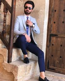 $enCountryForm.capitalKeyWord Australia - Summer Linen Groom Tuxedos 2019 One Button Peaked Lapel Mens Suits Prom Party Wedding Blazer Jacket(Jacket+Pants)