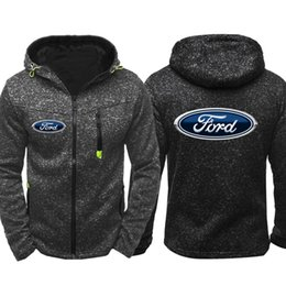 Button Sweatshirt Cardigan Canada - Ford hoodies Car Logo Print Men Sports Wear Men Hooded Tide Jacquard Hoodies Zipper Sweatshirts Male Hoodie Spring Coat Cardigan hoodie