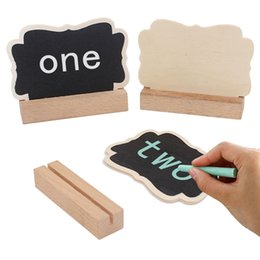 Discount name place holder cards - Wood Mini Chalkboard Place Cards Holders Wedding Name Cards With Easel Stand For Wedding Birthday Party Table Numbers Fo