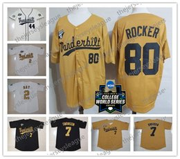baseball jersey number stitching Canada - Vanderbilt Commodores 2019 CWS Custom Any Name Number White Gold Black Stitched #51 JJ Bleday 19 Stephen Scott NCAA Baseball Jersey
