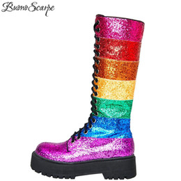 rainbow boots shoes NZ - Buono Scarpe Bling Bling Women Mid Calf Boots Women Rainbow Sequined Botas Fenimina Cross Tied Platform Ladies Shoes 2019 New