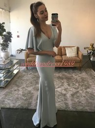 $enCountryForm.capitalKeyWord Australia - Simple Style Mermaid Evening Dresses V-Neck Satin Short Sleeve Grey Robe De Soiree Plus Size Arabic Formal Guest Wear Party Prom Gown