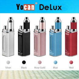 Wholesale Authentic Yocan DeLux Kit E Cigarette Kits mAh Box Mod Power Bank Plus mAh Mini Mod With Wax Oil Atomizer Vape Mod Kits