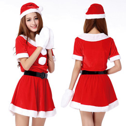Wholesale hot santa costumes women for sale - Group buy Hot Sale Set Sexy Women Santa Claus Christmas Costume Party Girls Outfit Fancy Dresses White Fluff Gloves Christmas Clothing