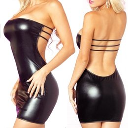 faux leather shirts NZ - Womens Sexy Slash Neck Faux Leather Dress+ T-back Minidress Set