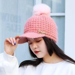 becd3f74930 Women Fashion Hip Hop Pompom Fur Warm Cap Snapback Hat Knitted Baseball Caps  Winter Outdoor Fleece Pom Pom Hats Ladies Bonnet
