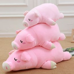 $enCountryForm.capitalKeyWord Canada - [Funny] 40~60cm Baby Lovely Plush Animal Lying down sleeping pink Pig Dolls Soft PP Cotton Stuffed Hold Pillow Toy girl gift