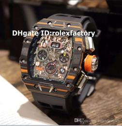 $enCountryForm.capitalKeyWord Australia - New Luxury 11-03 Watch Swiss 7750 Automatic Chronograph 28800bph Black & Orange Forged Carbon Skeleton Dial Rubber Strap Mens Watch