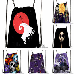 Backpack Kids Leather Satchel Bag Australia - Custom The Nightmare Before Christmas Drawstring Backpack Bag Cute Daypack Kids Satchel (Black Back) 31x40cm#180531-03-53 #529791