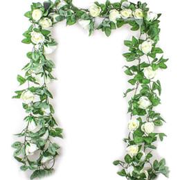 Ingrosso 2.5 M Simulazione Fiore di Rosa Rattan Fiore Artificiale Vite Seta Glicine Ghirlanda Appesa In Rattan Per Matrimonio Arco Giardino Parete Deco