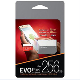 Wholesale 100% Brand New U3 EVO + Plus 100mbps 32GB 64GB 128GB 256GB TF Memory TF Card for smartphone Camcoders DHL Shipping 1 Year