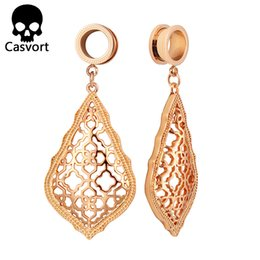 Discount dangle plugs - Casvort New Fashion Addie Rose Gold Dangle Modern Earrings Plugs Body Jewelry for Women Wholesale Gift