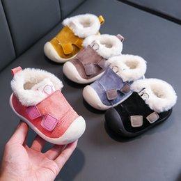 comfortable wide shoes NZ - Infant Toddler Boots Winter Warm Plush Baby Girls Boys Snow Boots Outdoor Comfortable Soft Bottom Non-Slip Child Kids Shoes