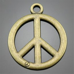 $enCountryForm.capitalKeyWord Australia - 100pcs Charm Peace Vintage Peace Symbol Charms Pendant For Jewelry Making Antique Bronze Color Peace Symbol Charms 23mm