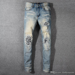 Wholesale jeans blue wash stretch man resale online – designer 2019SS New Fashion High Stree AMIRI Men s retro nostalgic depth washed jeans stretch slim creative patch rhinestone perforated Free shippin