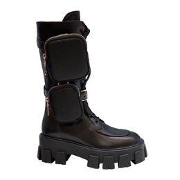 Groihandel freies Verschiffen desinger Luxus Frauen aus echtem Leder Schuhe grils Schuh Monolith Mini Tasche kniehohe Stiefel Gang klobige Ferse Boot-freies Schiff