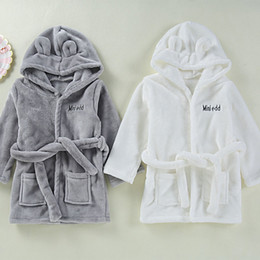 kids robes children NZ - Baby Girls Boys Robes Children Bathrobe Hooded Cap Soft Velvet Robe Pajama Kids Coral Warm Clothes Baby Lovely Home Clothes Y200114