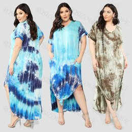 Cheap dress for plus size online shopping - New hot style tie dye print straight loose plaid plus size dress for women cheap and fine
