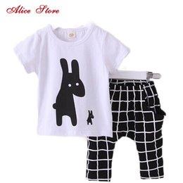 $enCountryForm.capitalKeyWord Australia - Summer Boys Clothes 2018 New Baby Boy Clothing Set Pattern Rabbit Toddler Boys Clothing Plaid Kids Clothes Children Clothing