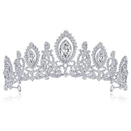 Wholesale New Arrival Trendy Silver Crystal Luxury Wedding Crowns For Bride Tiara Crowns Fashion Queen Headpiece Hair Accessories