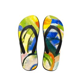 painting sandals Australia - Comfort Man Flip Flops Beach Anti-slip Sandals Casual Anti-Slip Unisex Flat Shoes Spatial Abstraction Painting Print Beach Shoes