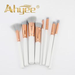 White Gold Hair Australia - Ahyee 8Pcs Marble Rose Gold Makeup Brushes Kit Professional Synthetic Hair White Wood Handle Crease Blending Foundation Brush
