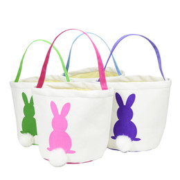 Cute Canvas Handbags Australia - Easter Bag Bunny Tote Party Supplies Women Handbag Decoration Birthday Kids Canvas Basket Cute Candy Reusable Gift Tail Rabbit
