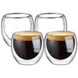Опт 100% новый модный бренд 4шт 80мл Double Wall Изолированные Espresso Cups Питьевая чай латте Кофе Кружки Виски стеклянные чашки Drinkware