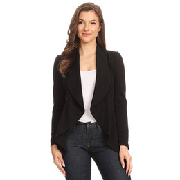 office suit cardigan NZ - Women Ruched Asymmetrical Autumn Blazers Cardigan Long Sleeve Coat Casual Office Lady Business Suit Outwear
