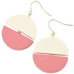 wood matches wholesale UK - Small Fresh Matching Wood Semi-Circular Stitching Stud Earrings