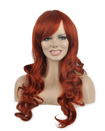 Chinese  Stylish Women Cosplay Long Red Brown Oblique Bangs Rose Net Wavy Curly Kanekalon Heat Resistant Cosplay Party Hair Full Wig Wigs manufacturers