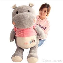 Stuffed hippo animal dollS online shopping - Dorimytrader Big Animals Hippo Plush Toys Stuffed Soft Cartoon Elephant Kids Doll Pillow Cushion Gift cm cm DY61980