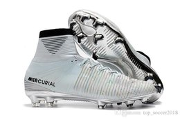 cr7 cristiano ronaldo soccer cleats Australia - 100% Original White Silver CR7 Soccer Cleats Mercurial Superfly V FG Outdoor Soccer Shoes Top Quality Top Cristiano Ronaldo Football Boots